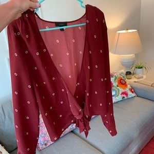 J CREW MAROON SILK WRAP TOP
